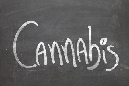 Cannabis word on the blackboard