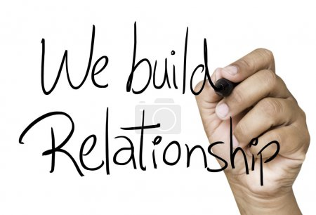 We build relationship hand writing
