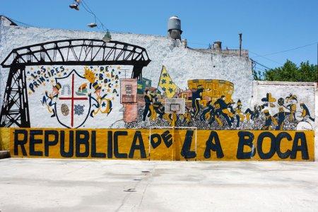 La Boca Republic painted on the street wall