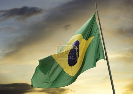 Brazilian Waving flag in a beautiful sky