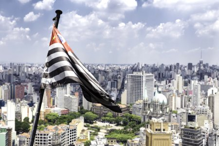 Waving flag of Sao Paulo