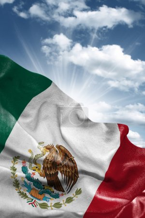 Flag of Mexico with a beautiful blue sky