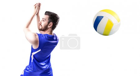 Volleyball player on red uniform in white background