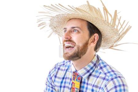 "Man wearing ""Caipira"" clothes for the Brazilian Festa Junina"