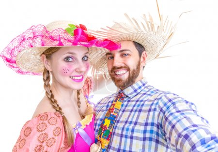 "Lovely Couple wearing ""Caipira"" clothes for the Brazilian Festa Junina"