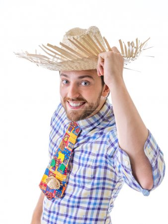 "Man wearing ""Caipira"" clothes for the Brazilian Festa Junina"