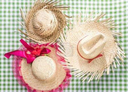 Group of Brazilian Straw Hat on the table (Festa Junina Theme)