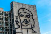 Ministry of the Interior building with face of Che Guevara located in Revolution Square, Cuba.