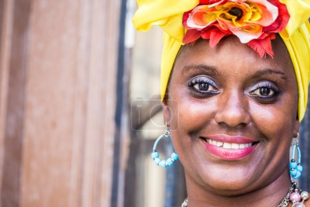 Portrait of cuban woman looking at camera and smiling