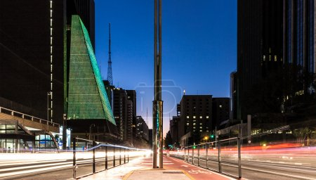 Paulista Avenue at night in Sao Paulo, Brazil