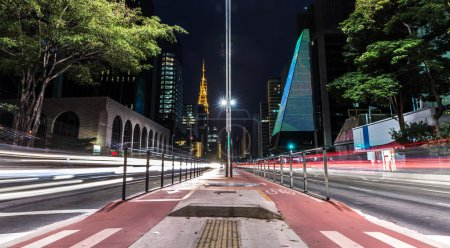 Paulista Avenue at night in Sao Paulo, Brazil