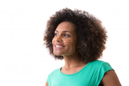 Portrait of Young Brazilian woman smiling on white background