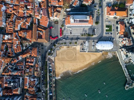 Top View of Mosaic and Beach, Cascais, Portugal