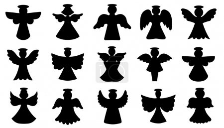 Angel silhouettes on the white background...