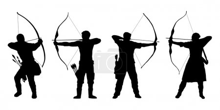 Archer silhouettes on the white background...