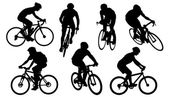Bike silhouettes on the white background