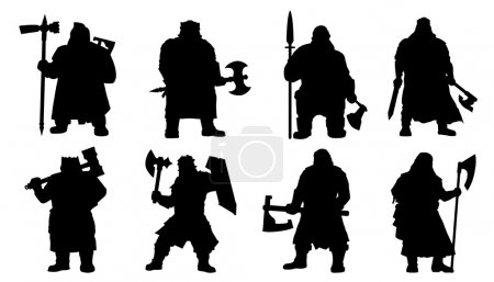 Illustration for Dwarf silhouettes on the white background - Royalty Free Image