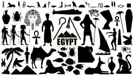 Egypt silhouettes on the white background...
