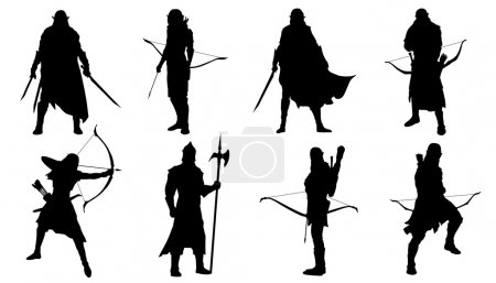 Illustration for Elf silhouettes on the white background - Royalty Free Image