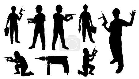 Illustration pour Perceuse bricoleur sur le fond blanc - image libre de droit