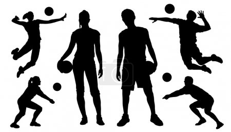 Voleyball silhouettes on the white background...