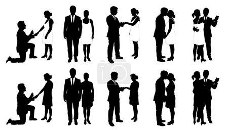 Illustration pour Personnes et mariage sur le fond blanc - image libre de droit