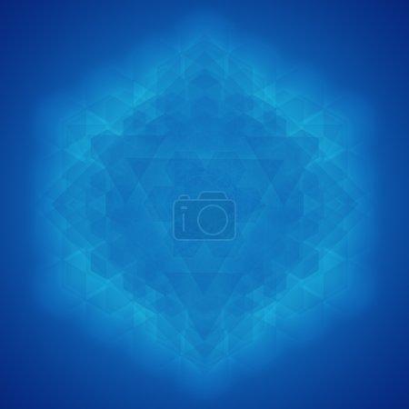 Sacred geometry symbol blue background