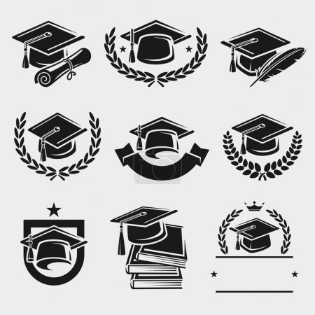 Graduation cap labels set