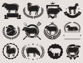 Sheep and lamb labels set