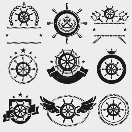 Ship steering wheel set.