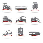 Gray and red train set isolated on white background Vector
