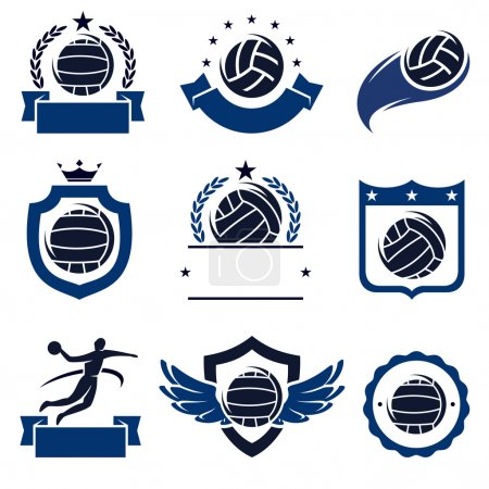 Water polo labels and icons set