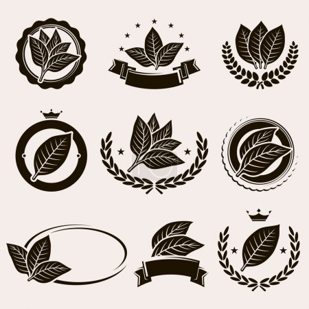Tobacco leaf label and icons set