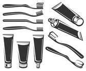 Black Toothbrush and toothpaste set