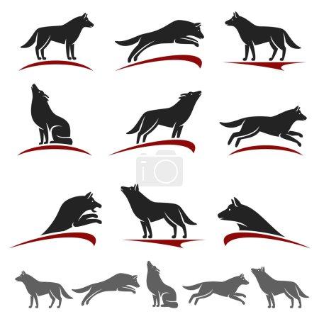 Illustration pour Wolf collection animale, modifier la taille et la couleur, vecteur - image libre de droit