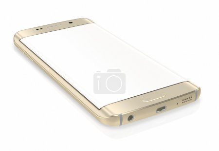Gold Platinum Smartphone edge with blank screen