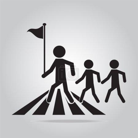 Illustration for Pedestrian crossing sign, school road sign vector illustration - Royalty Free Image