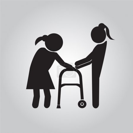 Woman helps elderly patient with