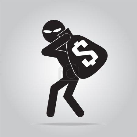 Beware pickpocket sign, thief icon symbol illustra...