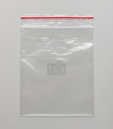 Photo for Plastic resealable bag isolated on the grey background - Royalty Free Image