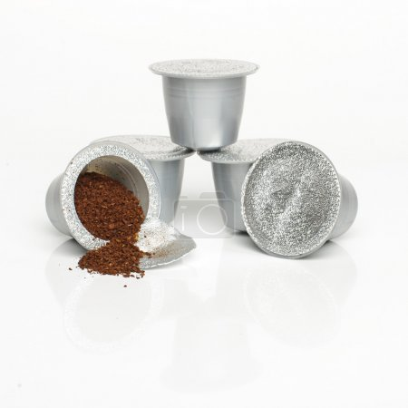 Single-serve coffee capsules isolated