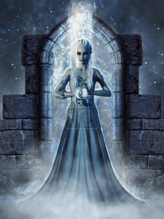 Photo pour Paysage fantastique noir avec une sorcière elfe debout dans un portail magique - image libre de droit
