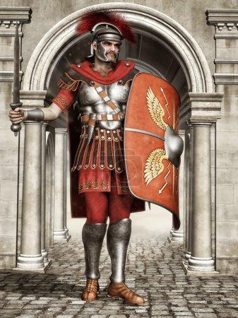 Photo pour Ancien soldat romain avec une épée et un bouclier, debout à la porte de la ville - image libre de droit