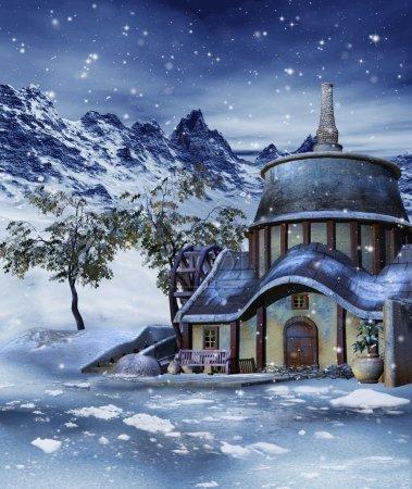 Photo pour Paysage hivernal avec une maison colorée dans les montagnes - image libre de droit