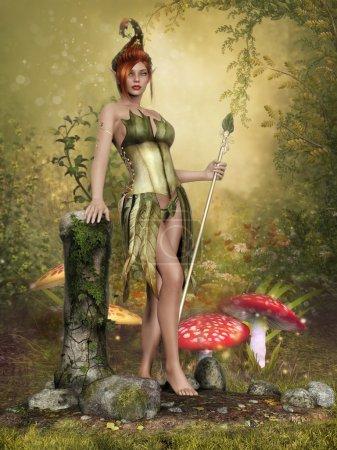 Fairy girl on a mushroom meadow