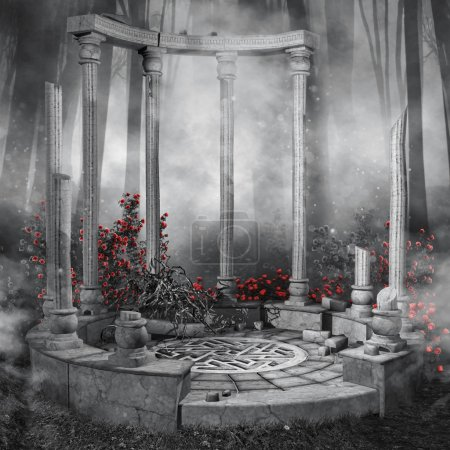 Photo for Ruined rotunda in a dark forest with red rose vines - Royalty Free Image
