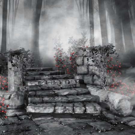 Ruins with red roses