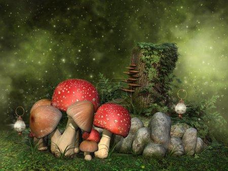Fantasy mushrooms, rocks and ivy