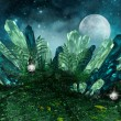 Fantasy scenery with colorful crystals, lanterns a...
