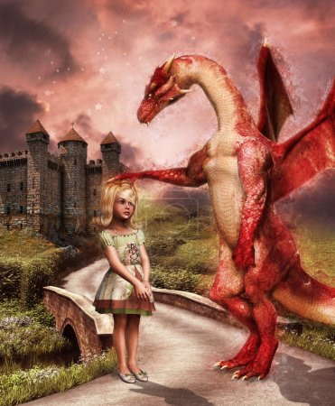 Red dragon and a girl